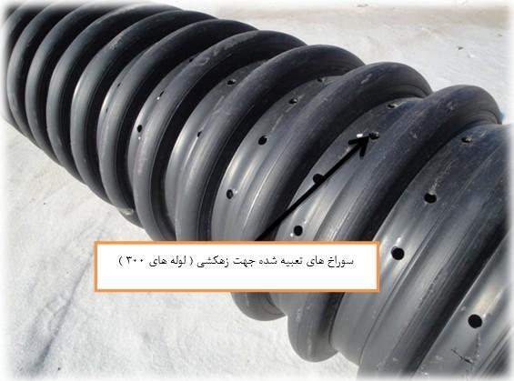 شکل9: سوراخ های لوله زهکش با قطر 300 میلی متر